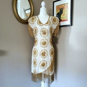 Vintage Gold Star Ivory/Gold Beaded Dress M NWT